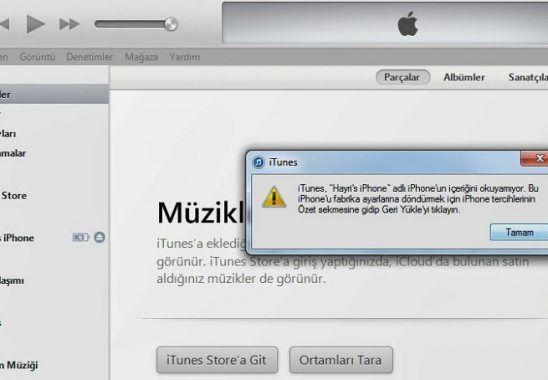 iTunes bu iPhone'a bağlanamadı