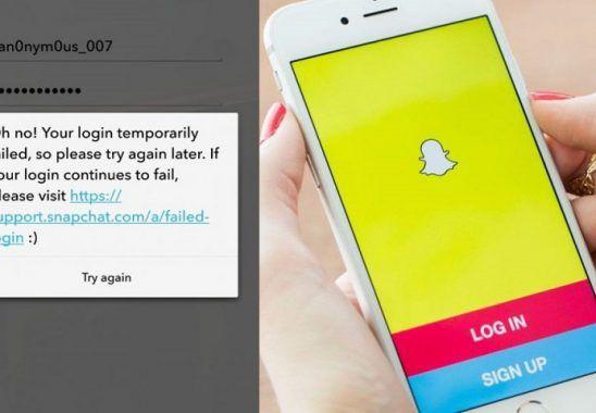 snapchat Giriş Geçici Olarak Başarısız Oldu