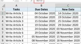 Excel'de Günü tarihe ekleme veya çıkarma
